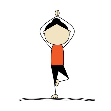 exercise cartoon: Woman practicing yoga, tree pose Illustration