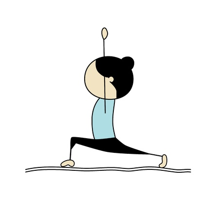 cartoon warrior: Praticando yoga donna, guerriero pongono