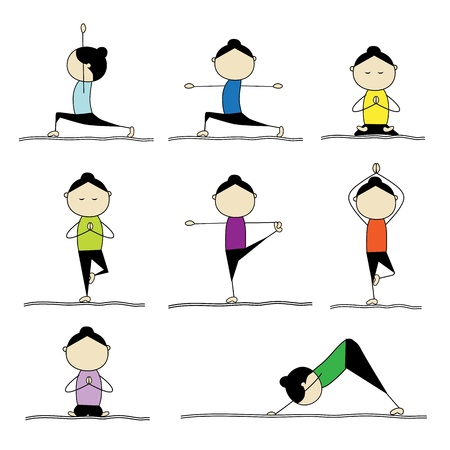 relaxation exercise: Woman practicing yoga Illustration