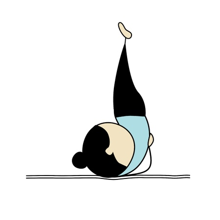 yoga girl: Woman practicing yoga Illustration