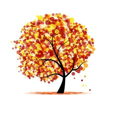 orange tree: Abstract autumn tree for your design  Illustration