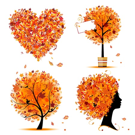 Autumn style - tree, frames, heart for your design Vector