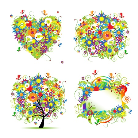 Summer style - tree, frame, bouquet, heart for your design Stock Vector - 9778144