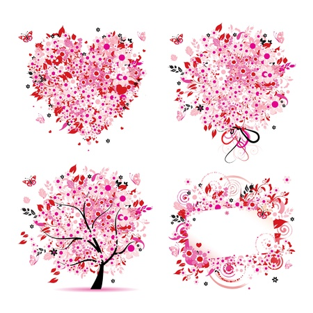 hearts and roses: Summer style - tree, frame, bouquet, heart for your design