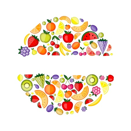 Energy fruits, frame for your design  Vector
