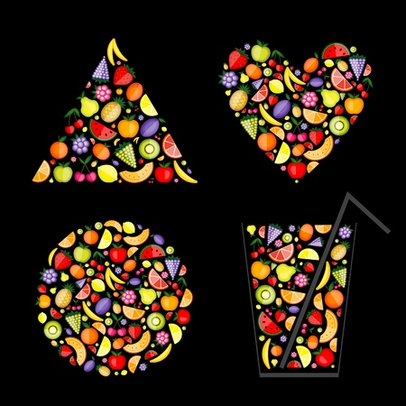 Energy fruits - pyramid, heart, cocktail, frame for your design Stock Vector - 9778147