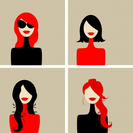 red lips: Fashion woman portrait for your design Illustration