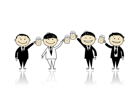 Groom with friends, stag party for your design  Stock Vector - 9778126