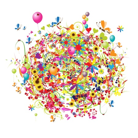 Happy holiday, bouquet dr�le avec des ballons  Banque d'images - 9778142