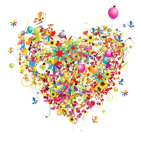 hearts and flowers: Happy holiday, funny heart shape with ballons