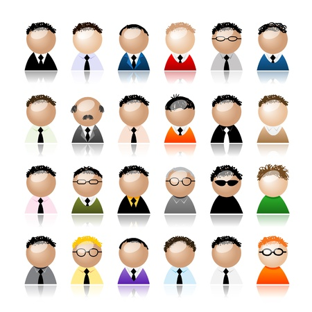 painting jobs: Set of business men peoples icons, cartoon for your design Illustration