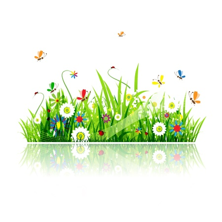 flowers cartoon: Summer green meadow for your design