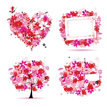 Summer style pink - tree, frame, bouquet, heart for your design Stock Vector - 9778141