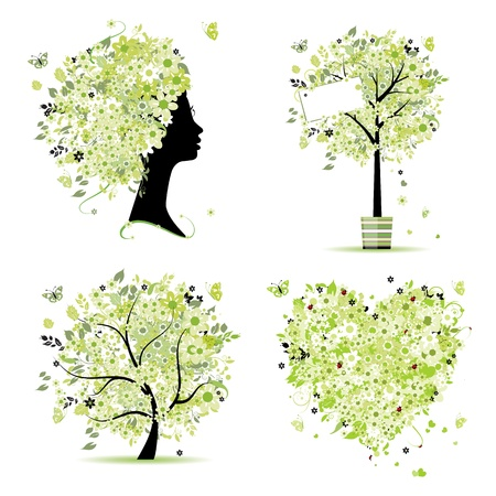 Spring style - tree, frame, female head, heart for your design Vector