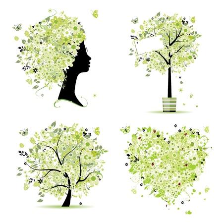 Frühling-Style - Baum, Frame, Damen Kopf, Herz für Ihren Entwurf