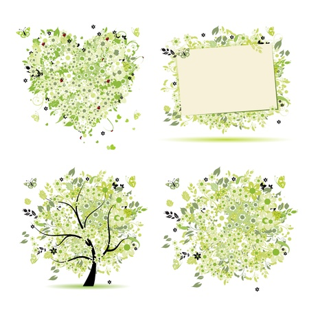 Spring style - tree, frame, bouquet, heart for your design Stock Vector - 9778149