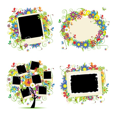 Family album. Floral tree with frames for your photos.  Vector