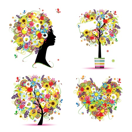 Summer style - tree, frame, bouquet, female head for your design Vector