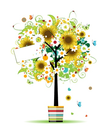 Summer tree in the pot with card for your design Vector