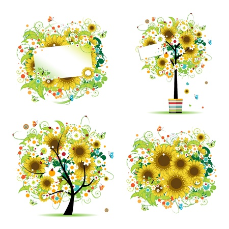 pot decoration: Summer style with sunflowers - tree, frames, bouquet for your design