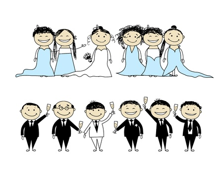 Wedding party - bride and groom with friends Vector