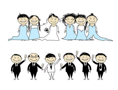 Fiesta de boda - novios con amigos