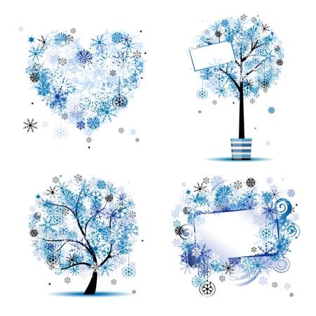 corazones azules: Estilo de invierno - �rbol, marcos, coraz�n para el dise�o