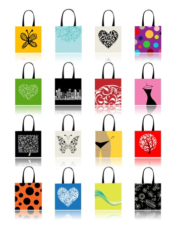 Shopping bags set for your design Vector