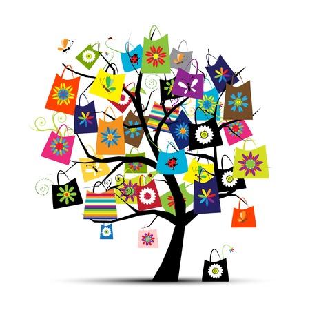 shoppen: Einkaufstaschen auf Baum f�r Ihr Design Illustration