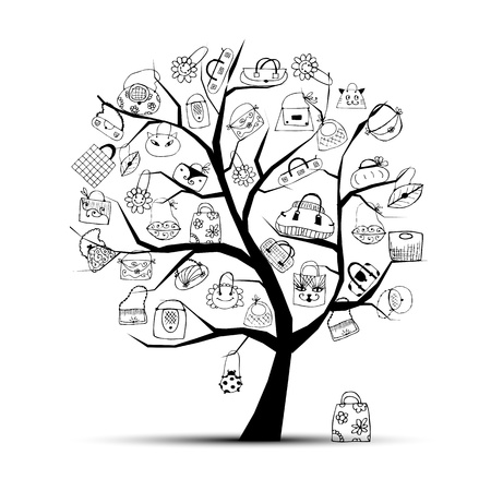 Shopping bags on tree for your design Vector