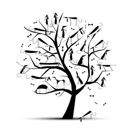Grappige boom met honden op takken voor uw ontwerp Vector Illustratie