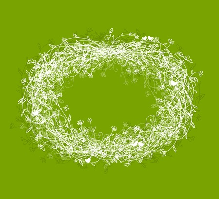 White floral frame on green background with place for your text Vector