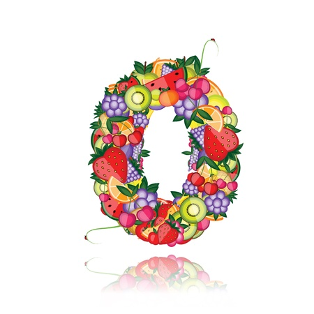 arithmetic: Number zero made from fruits. See others in my gallery
