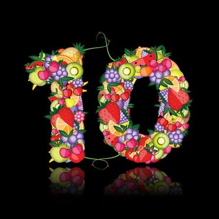 numero diez: Número diez de frutas.