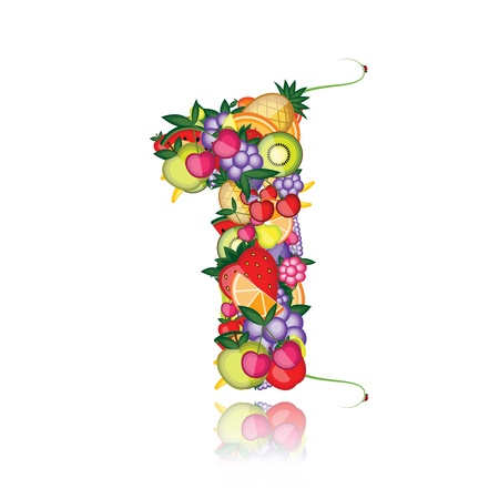 digits: Number one made from fruits. See others in my gallery