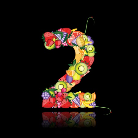 Number two made from fruits. See others in my gallery  Vector