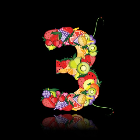 Number three made from fruits. See others in my gallery  Vector