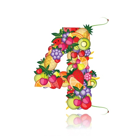 Number four made from fruits. See others in my gallery  Vector