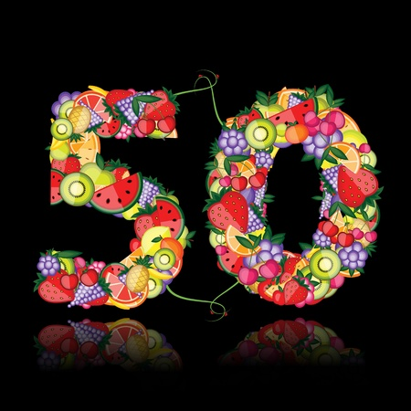 fifty: Number fifty made from fruits.  Illustration