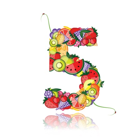 Number five made from fruits. See others in my gallery  Vector