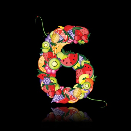algebra: Number six made from fruits. See others in my gallery  Illustration