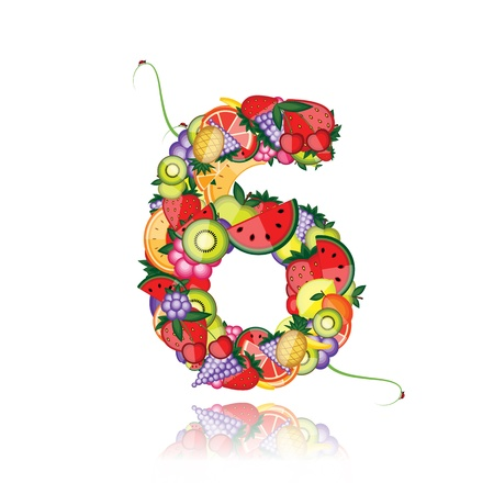 Number six made from fruits. See others in my gallery  Vector