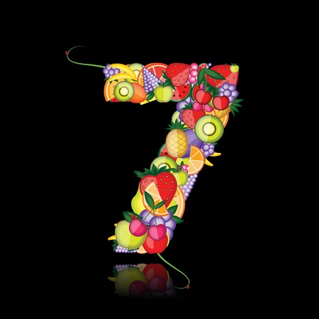 Number seven made from fruits. See others in my gallery Stock Vector - 10286423