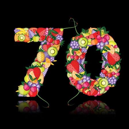 Number seventy made from fruits.  Vector