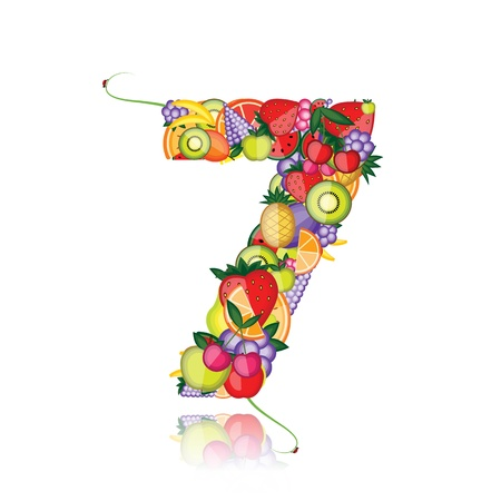 Number seven made from fruits. See others in my gallery  Vector