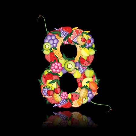 Number eight made from fruits. See others in my gallery  Vector