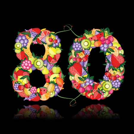 eighty: Number eighty made from fruits.  Illustration