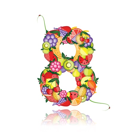 eight: Number eight made from fruits. See others in my gallery