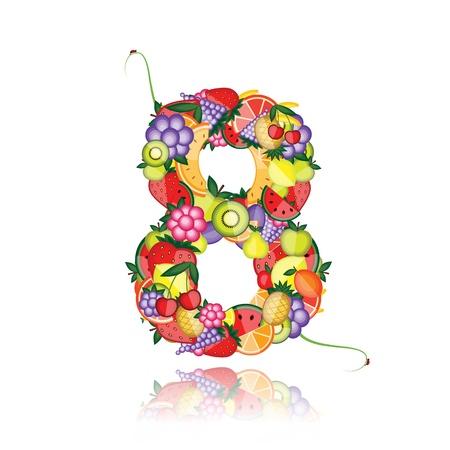 Numero otto fatta da frutta. Vedere gli altri nella mia galleria