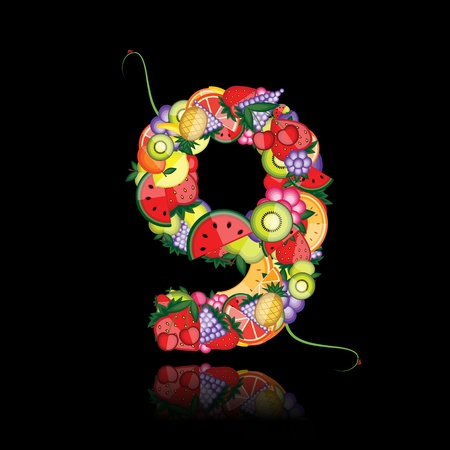 Number nine made from fruits. See others in my gallery  Vector